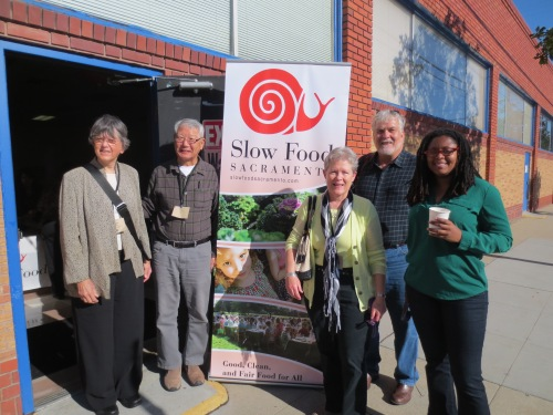 Left to right: Beverly Bellows, Tom Surh and Susan Whitesell of Slow Food Rio Vista, Matt jones and Jovan Sage of Slow Food USA. Not pictured, Janith Norman.